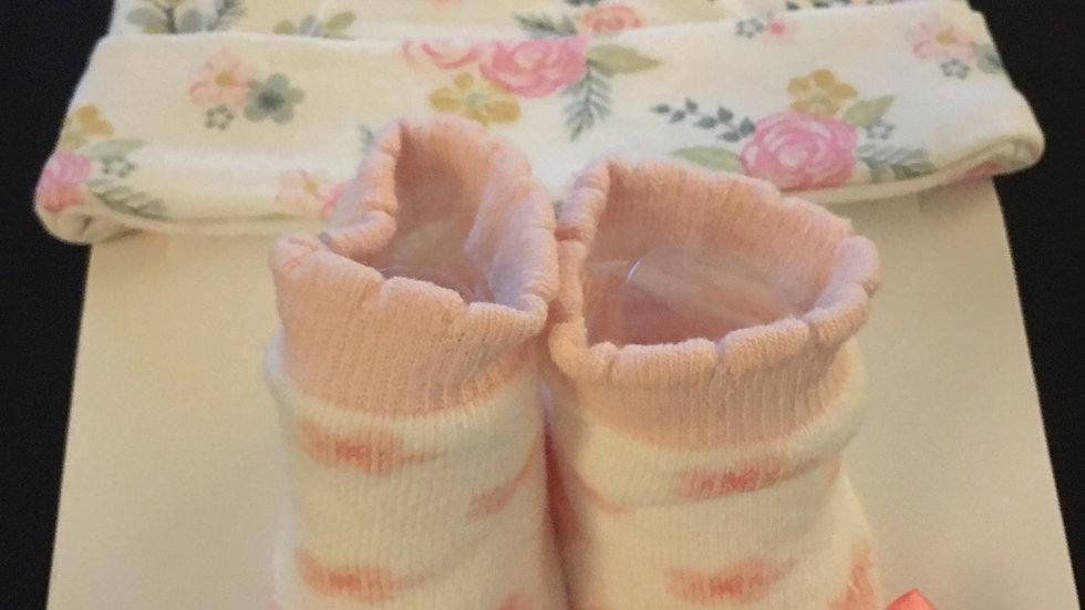Baby Pink Floral Sock & Hat Set