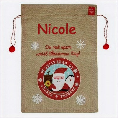Deluxe Hessian Sack with Red Pom Pom