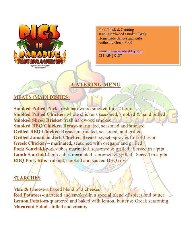 BBQ Catering Menu PIttsburgh PA