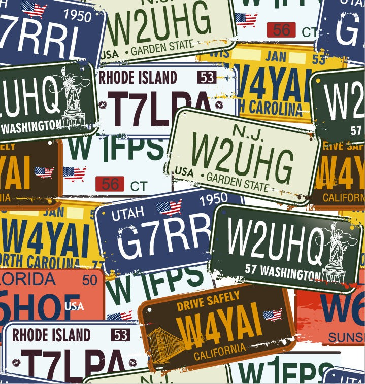 Vintage-License-Plates-Vector-Set