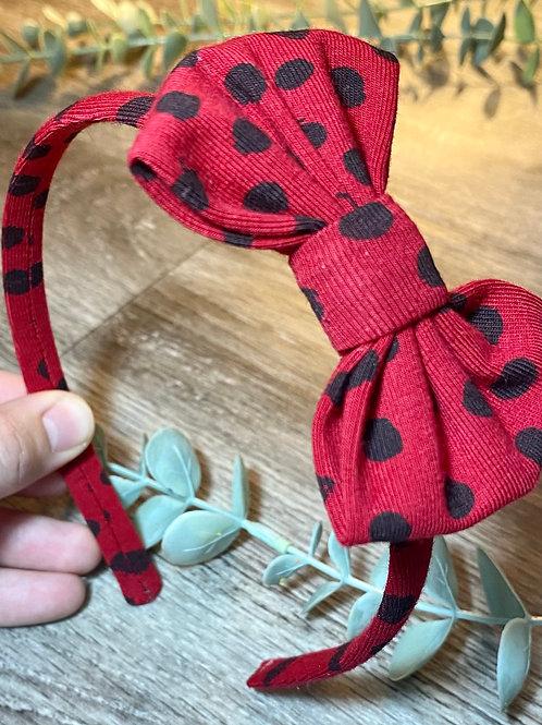 Red Flurry Spot Classic Bow Headband