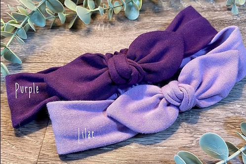 Purple Knot Bow Elasticated Headband