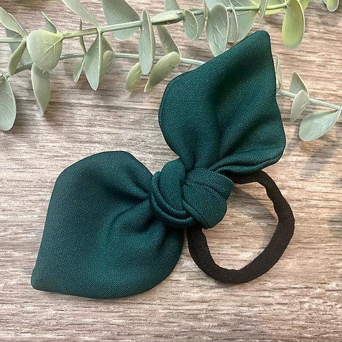 Bottle Green Knot Bow Bobble
