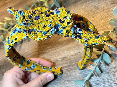 Mustard Floral Knot Bow Headband