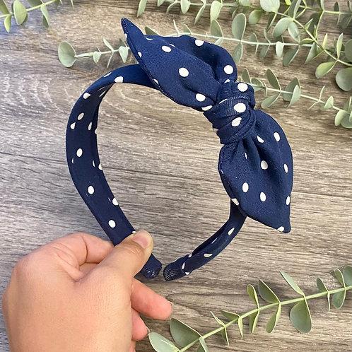 Navy Polka Dot Knot Bow Headband