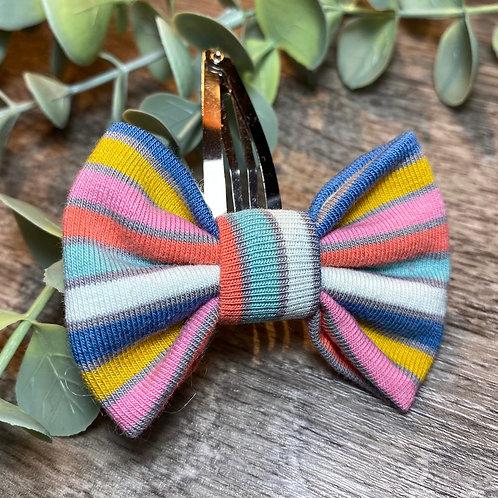 Blue Rainbow Stripe Classic Bow Snap Clips