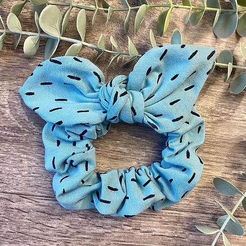 Aqua Blue Dash Knot Bow Scrunchie