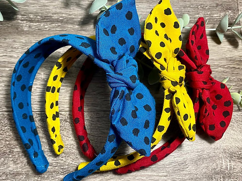 Knot Bow Headband Dots and Dashes