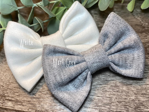 Marl Grey Classic Bow Prong Clip