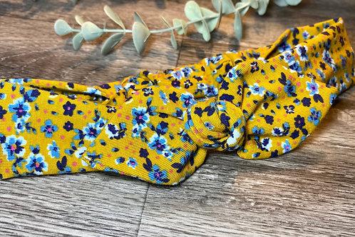 Mustard Floral Knot Bow Elasticated Headband
