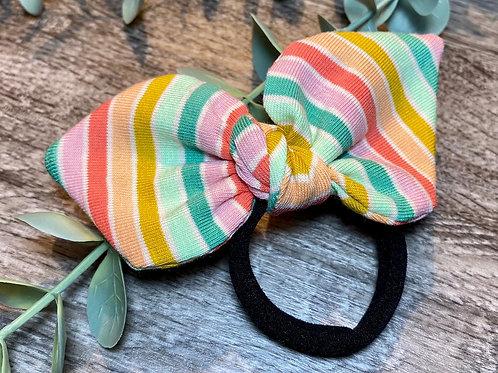 Green Rainbow Stripe Knot Bow Bobble