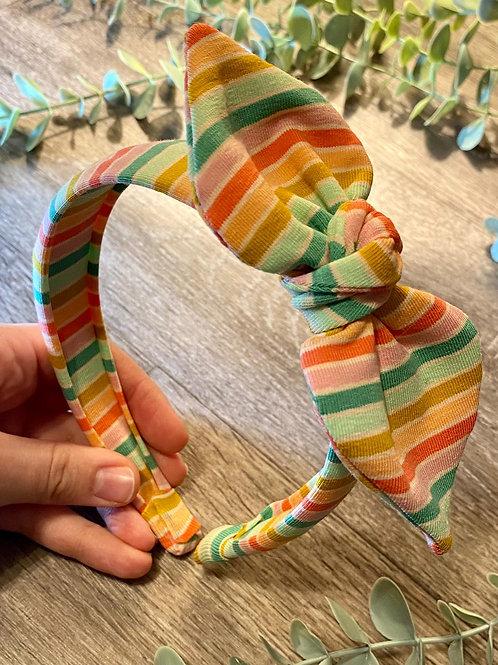 Green Rainbow Stripe Knot Bow Headband