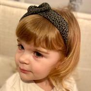 Mini Khaki Leopard Knot Bow Elasticated Headband
