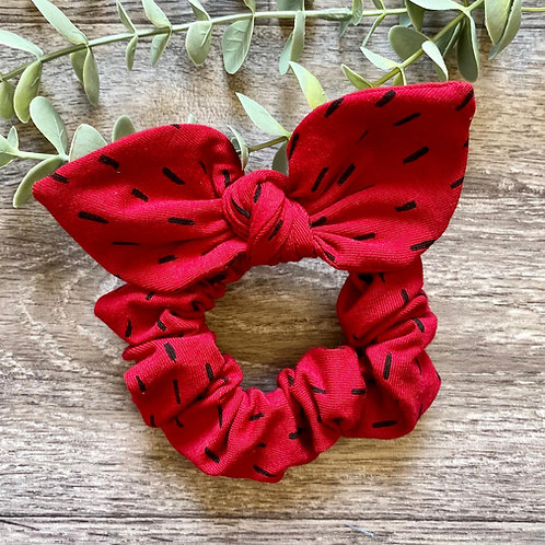 Red Berry Dash Knot Bow Scrunchie