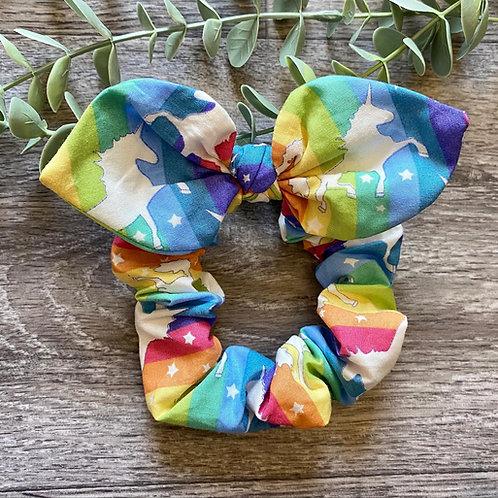 Rainbow Unicorn Stripe Knot Bow Scrunchie