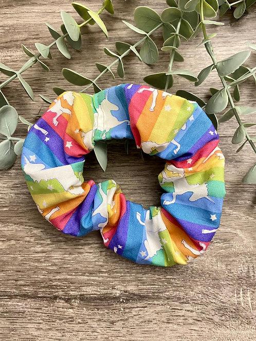 Rainbow Unicorn Stripe Scrunchie
