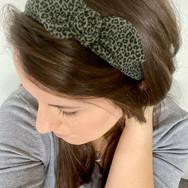 Mini Khaki Leopard Knot Bow Headband