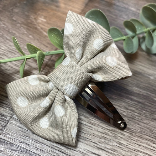 Taupe Polka Dot Classic Bow Snap Clips