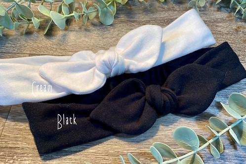 Cream Knot Bow Elasticated Headband