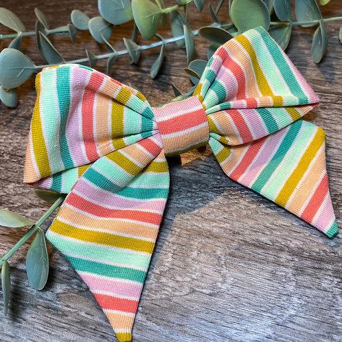 Green Rainbow Stripe Holly Bow