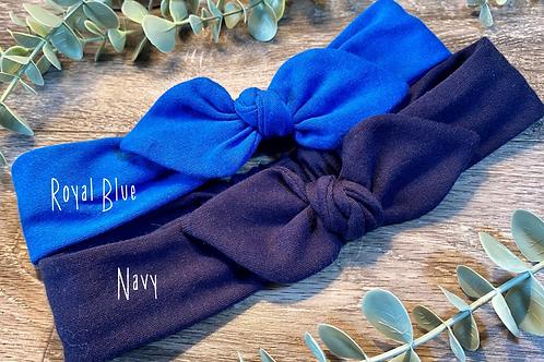Navy Knot Bow Elasticated Headband