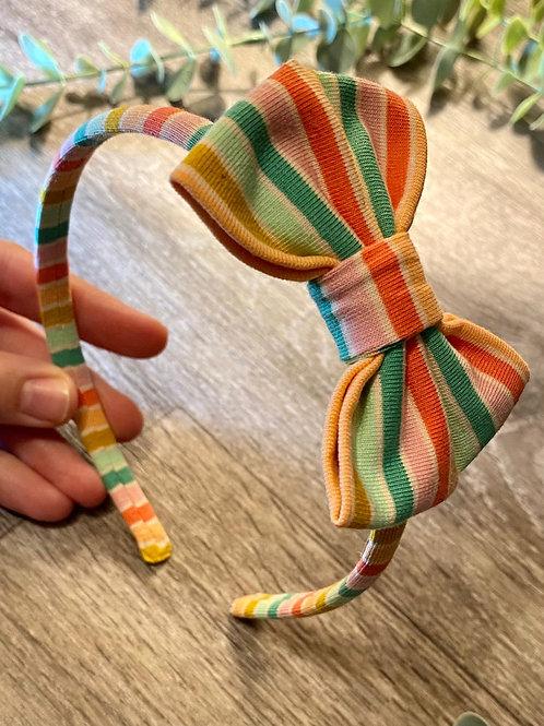 Green Rainbow Stripe Classic Bow Headband