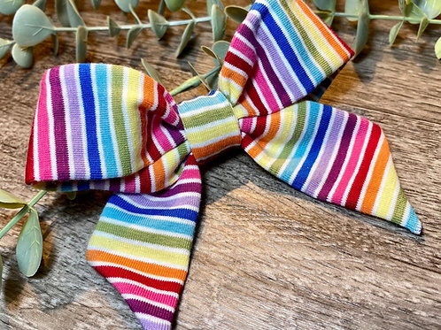 White Rainbow Stripe Holly Bow