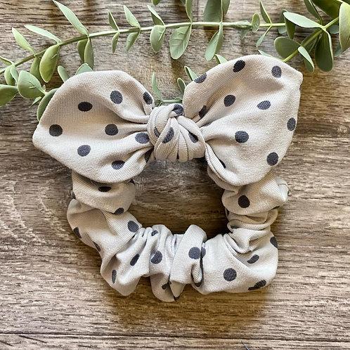 Grey Polka Dot Knot Bow Scrunchie