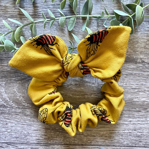 Mustard Bee Knot Bow Scrunchie