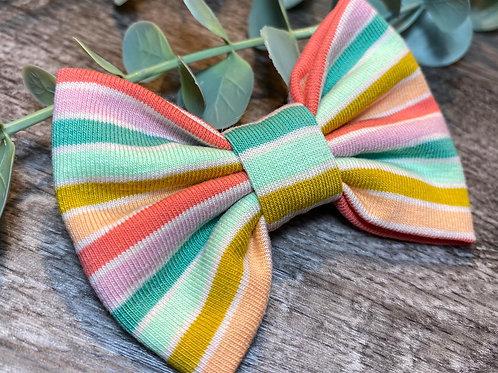 Green Rainbow Stripe Classic Bow Prong Clip