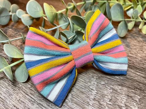Blue Rainbow Stripe Classic Bow Prong Clip