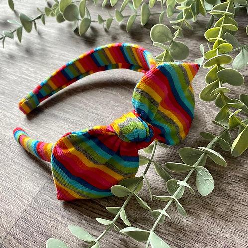 Bright Rainbow Stripe Knot Bow Headband