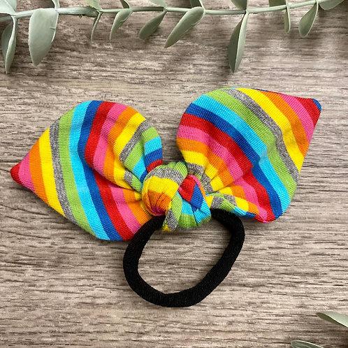 Bright Rainbow Stripe Knot Bow Bobble