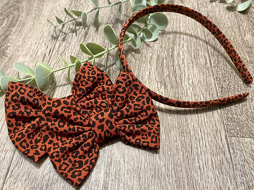 Aliceband and Bow Set Leopard Print