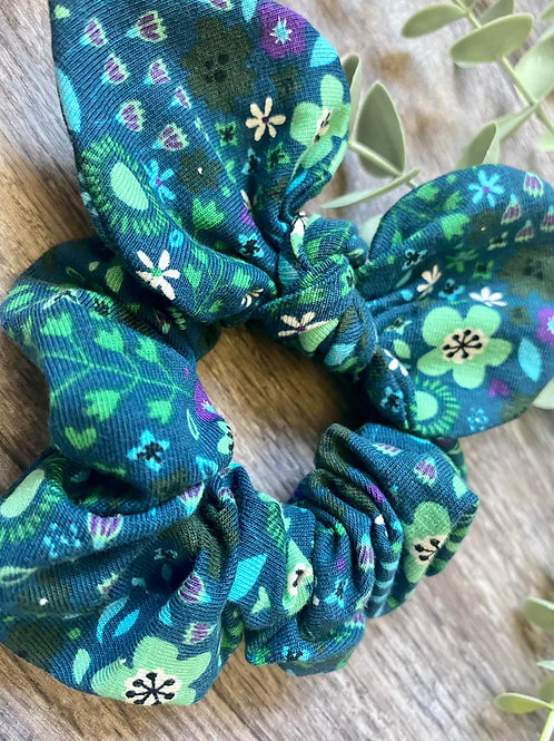 Teal Flowers Knot Bow Scrunchie