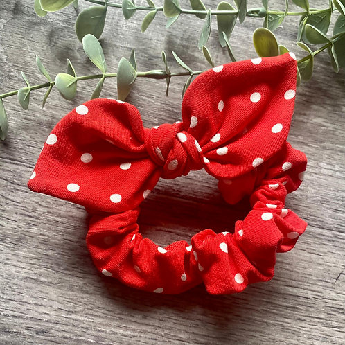 Red Polka Dot Knot Bow Scrunchie