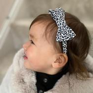Mini Black & White Leopard Classic Bow Headband