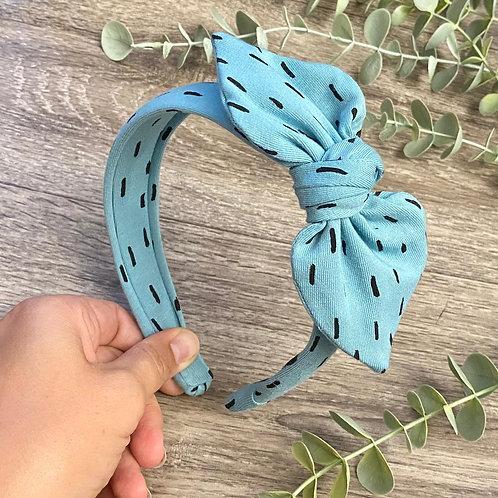 Aqua Blue Dash Knot Bow Headband