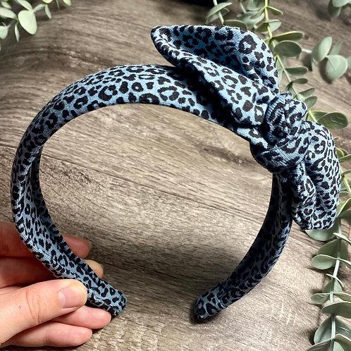 Mini Denim Blue Leopard Knot Bow Headband