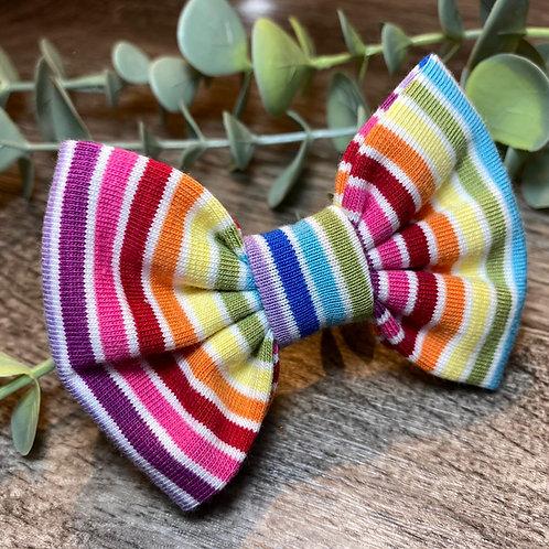 White Rainbow Stripe Classic Bow Prong Clip