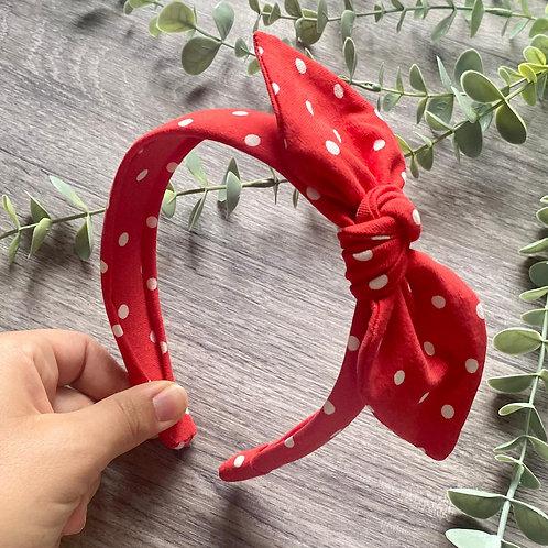 Red Polka Dot Knot Bow Headband