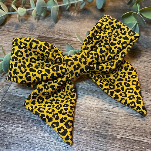 Mini Mustard Leopard Holly Bow