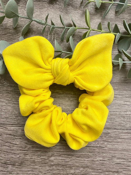 Bright Yellow Knot Bow Scrunchie