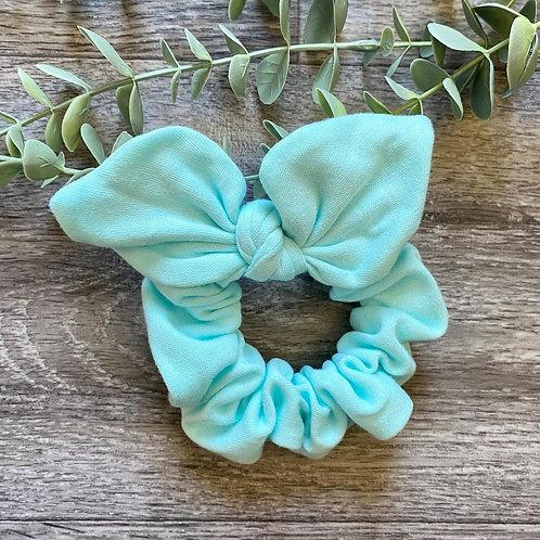 Aqua Knot Bow Scrunchie