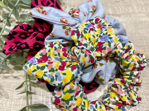 Knot Bow Scrunchies Floral
