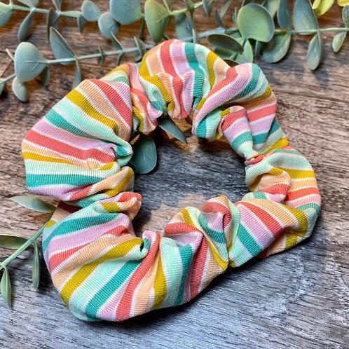 Green Rainbow Stripe Scrunchie