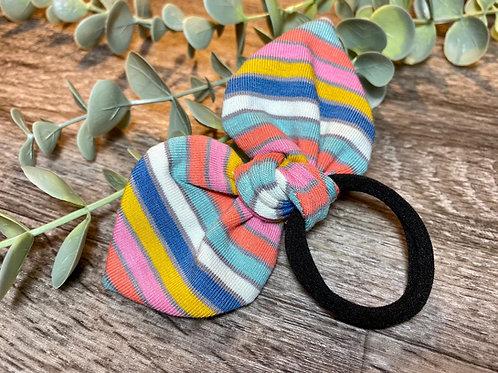 Blue Rainbow Stripe Knot Bow Bobble