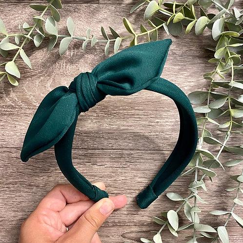Bottle Green Knot Bow Headband