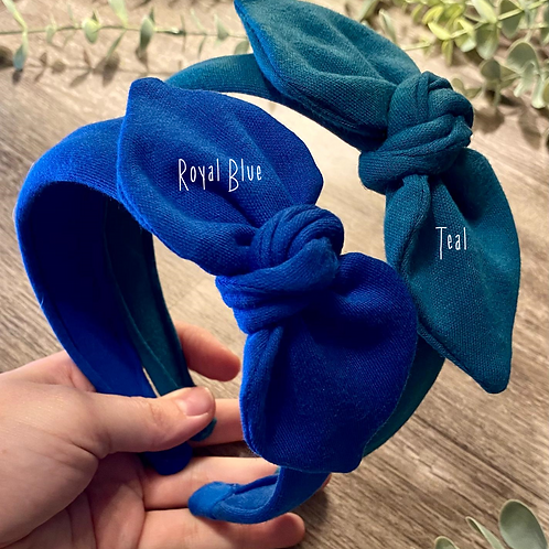 Teal Knot Bow Headband