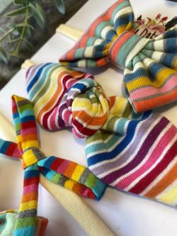 Mixed Rainbow Stripe Bow Baby Headbands